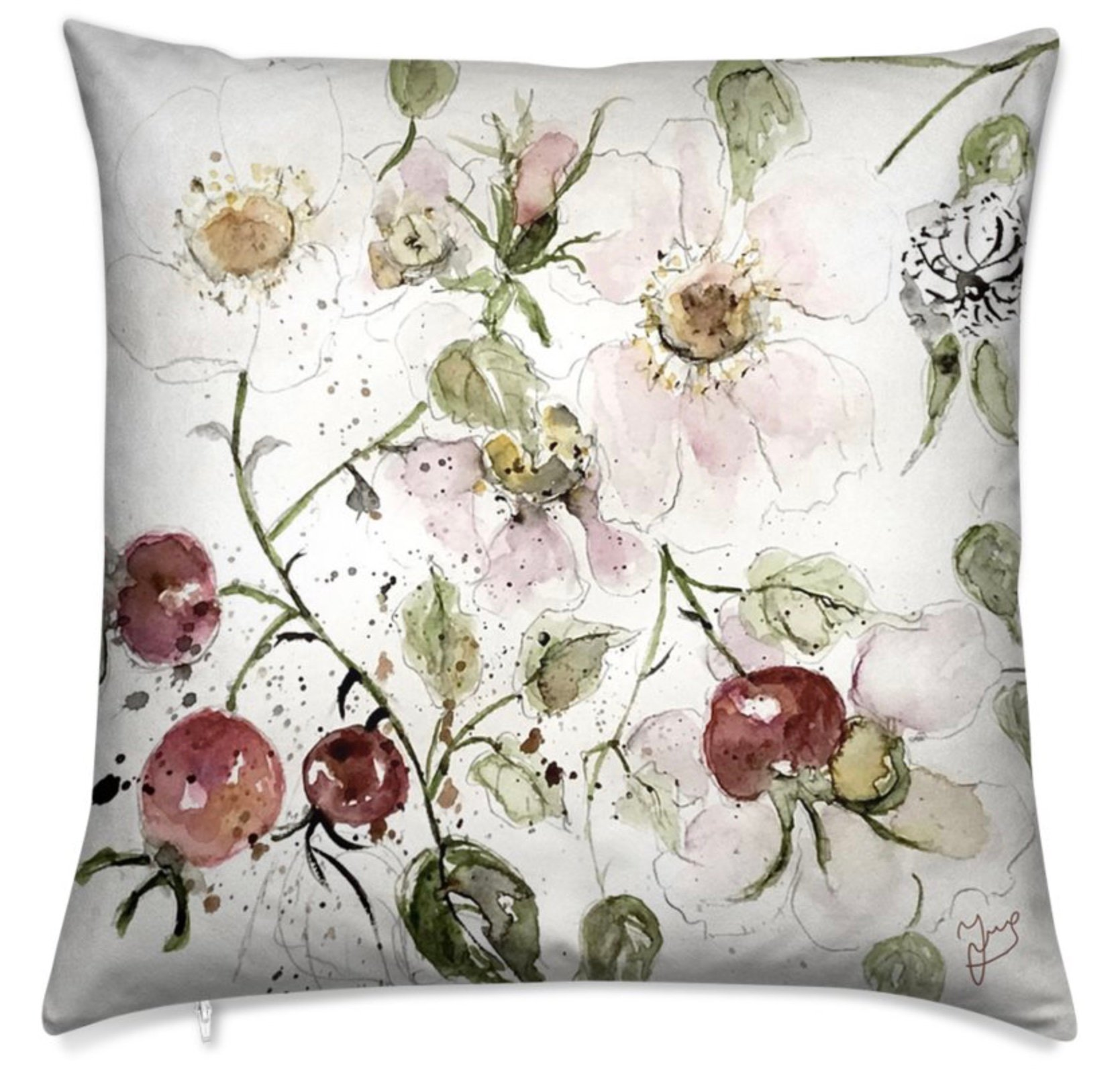 Pillow with wild roses