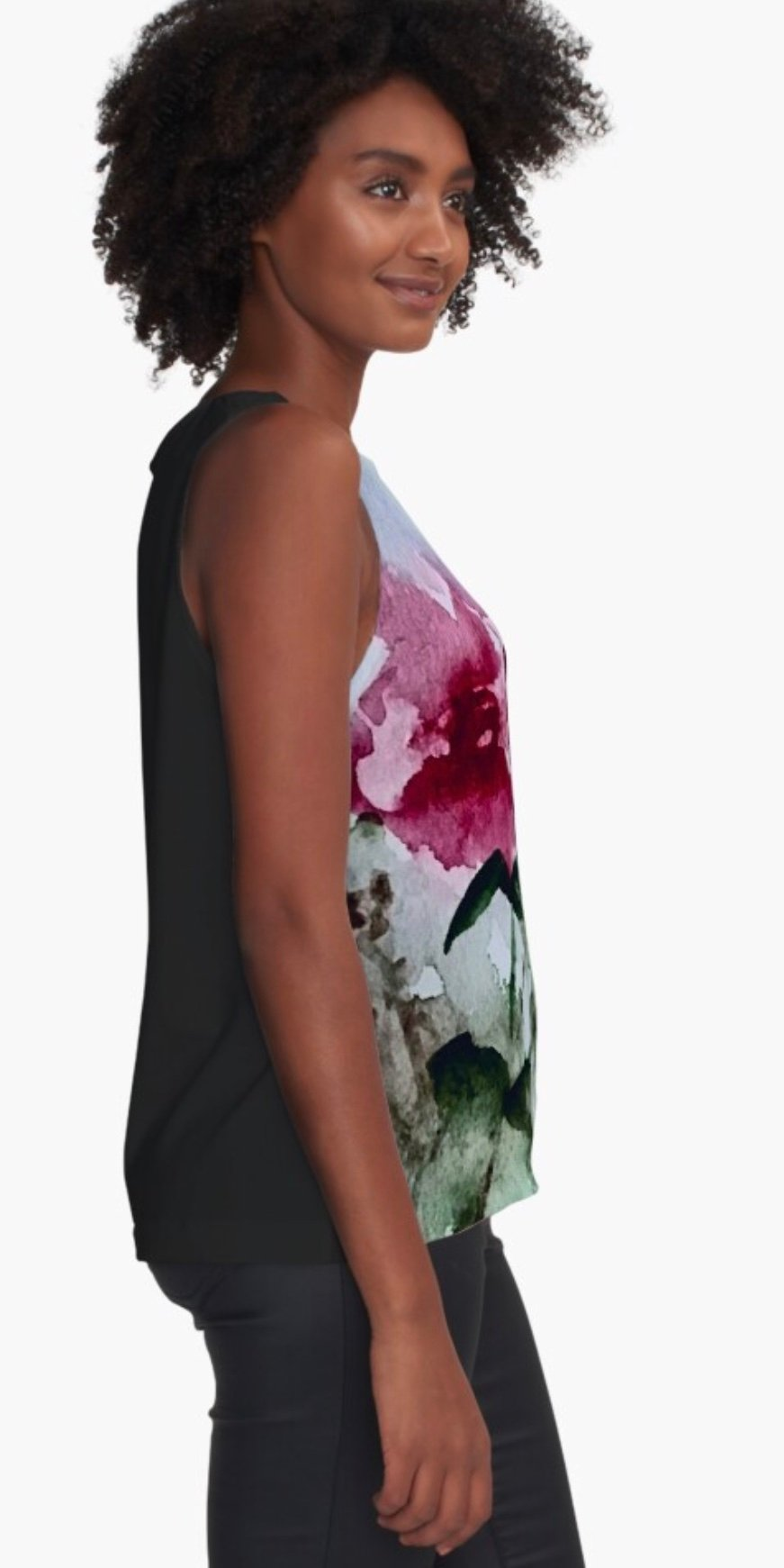 Sleeveless Top with Rose pattern