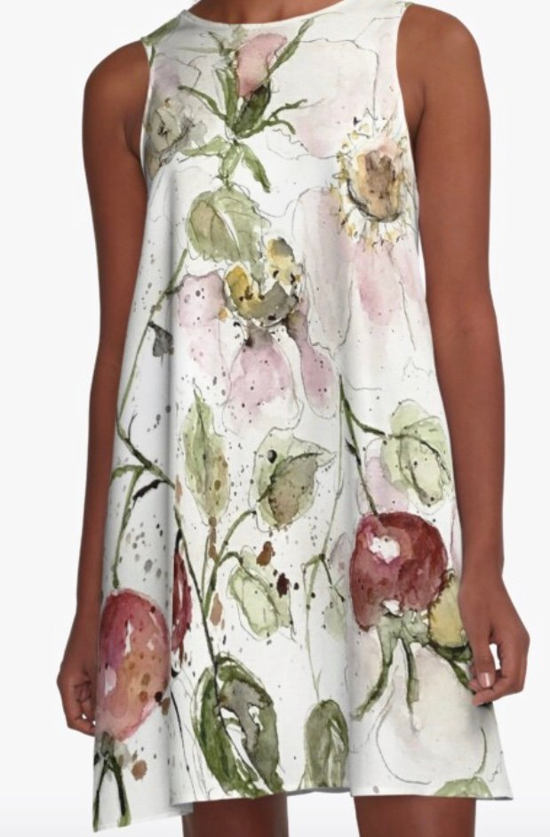Dress with wild roses and rose hips